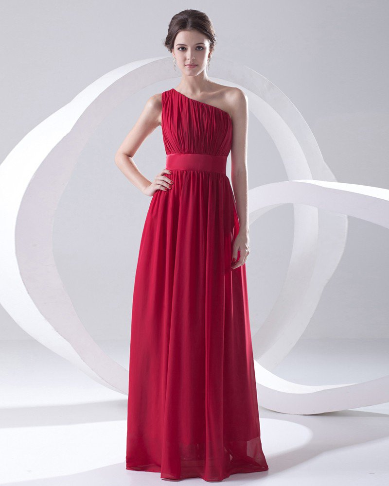 Fashion Chiffon Pleated Sloping Sleeveless Floor Length Bridesmaid Dress