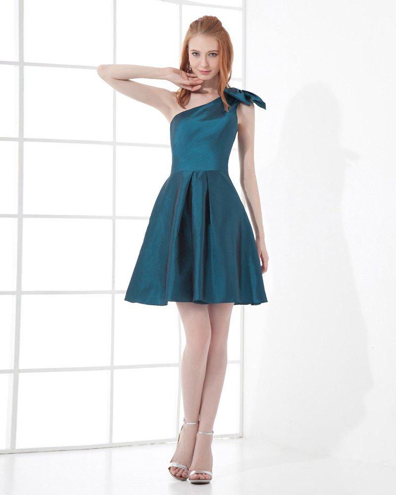 Fashion Taffeta Bow Sloping Thigh Length Bridesmaid Dress