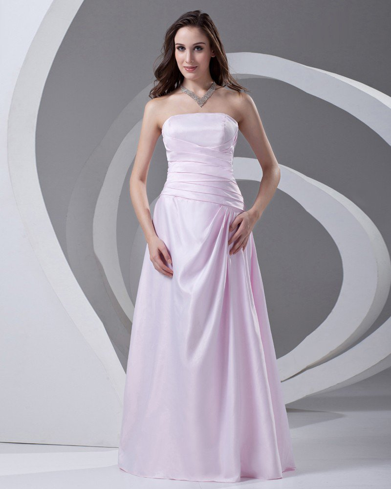 Strapless Floor Length Pleated Satin Woman Bridesmaid Dress