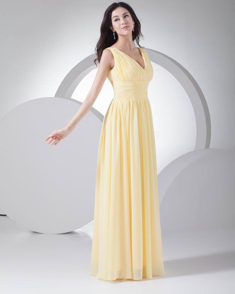 Fashion Chiffon Silk like Satin Pleated V Neck Floor Length Bridesmaid Dress