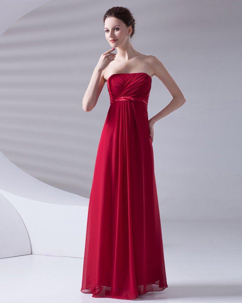 Slim Ruffle Design Strapless Floor Length Chiffon Bridesmaid Dress