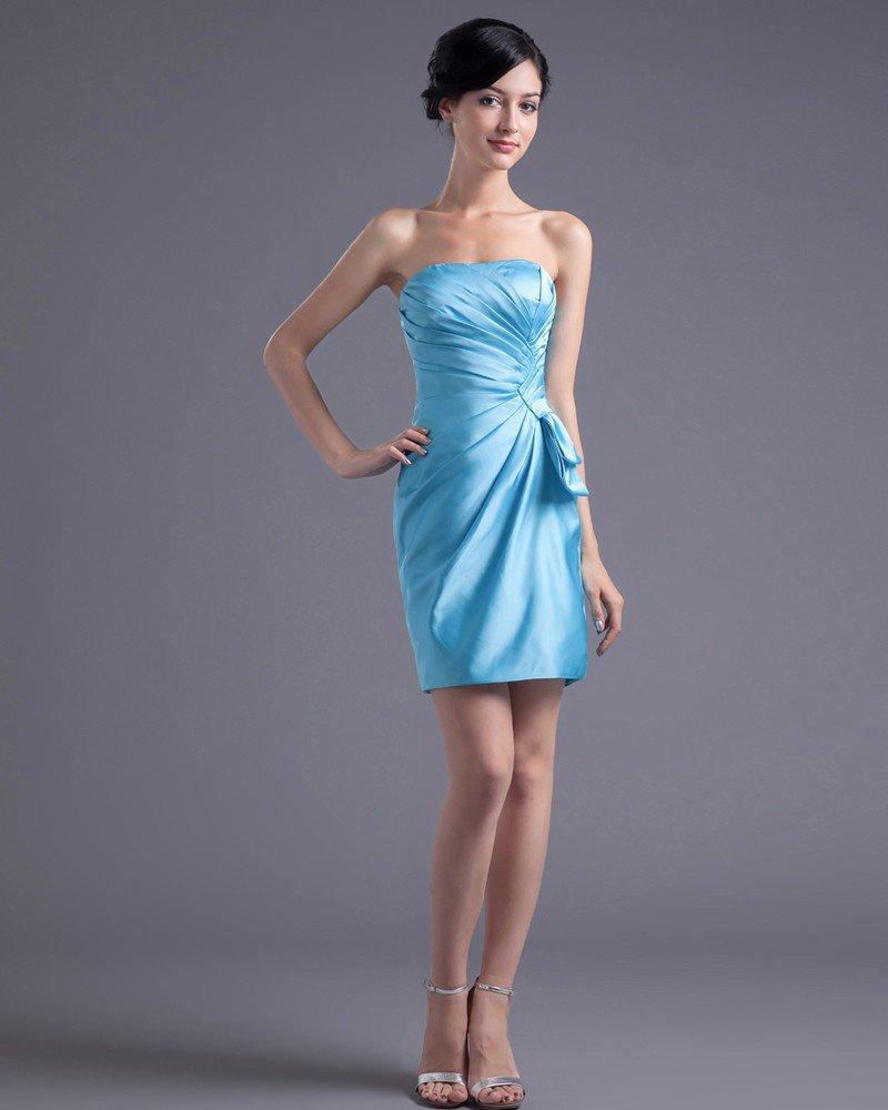 Elegant Thigh Length Strapless Pleated Satin Women Bridesmaid Dress