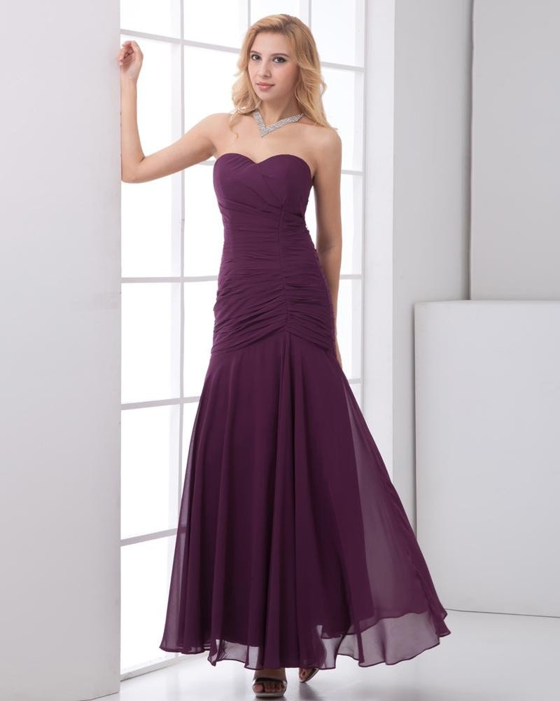 Chiffon Ruffle Sweetheart Sleeveless Backless Zipper Ankle Length Pleated Bridesmaids Dresses