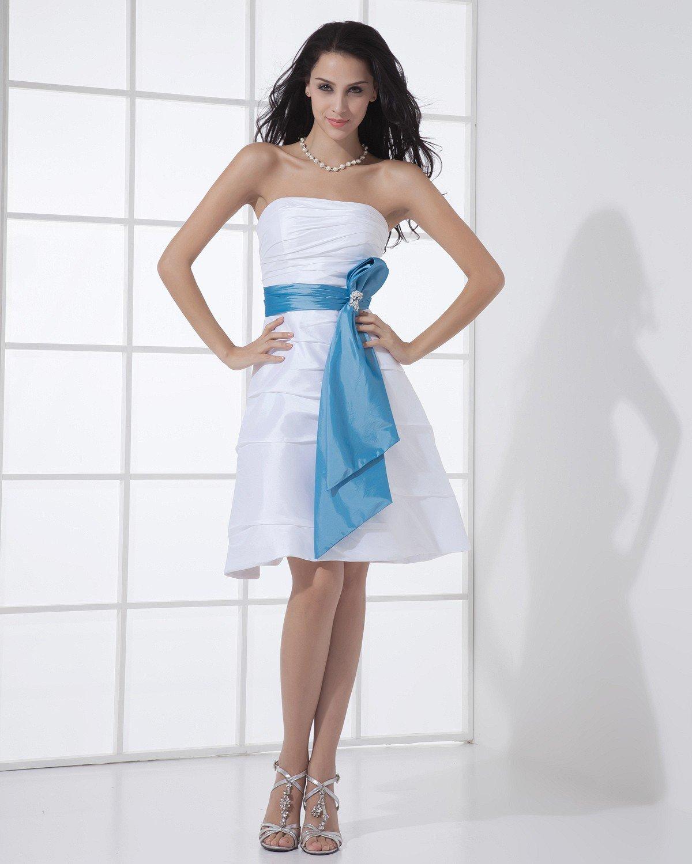 Taffeta Strapless Ruffle Sleeveless Zipper Belt Knee Length Bridesmaid Dress