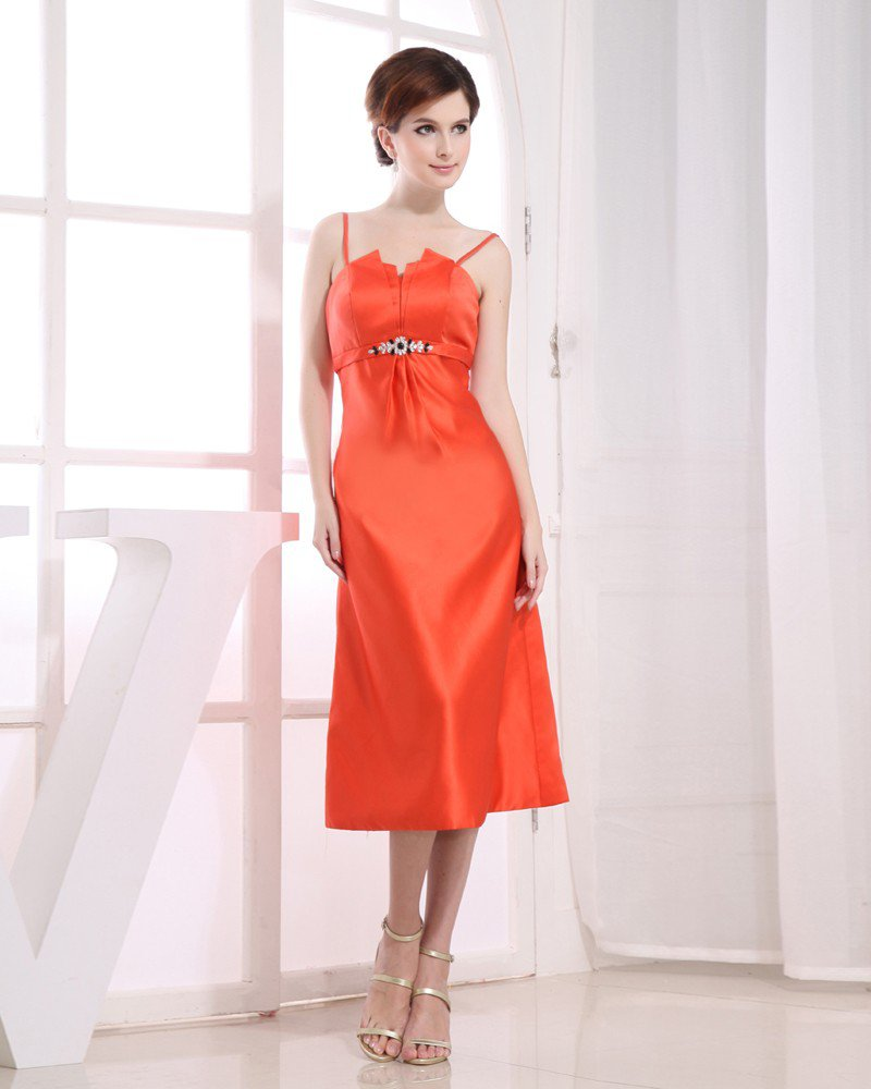 Silk Satin Beading Spaghetti Straps Sleeveless Backless Tea Length Bridesmaid Dress
