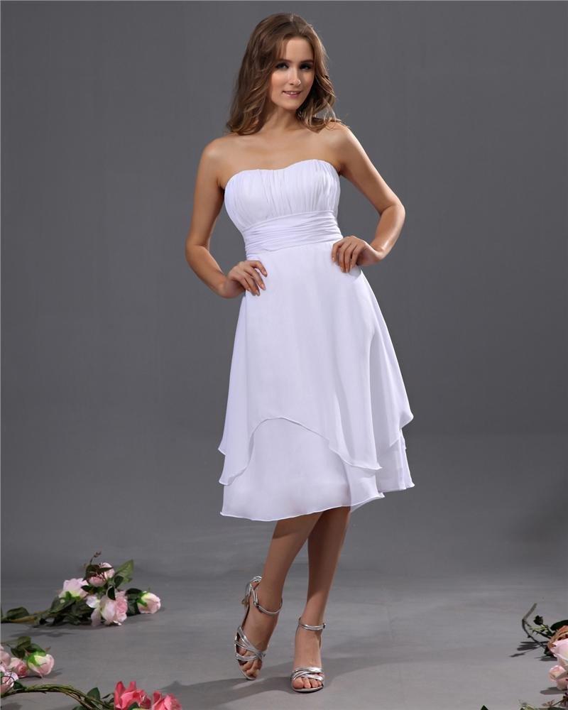 Designer A-line Strapless Chiffon Tea-length Bridesmaid Dress