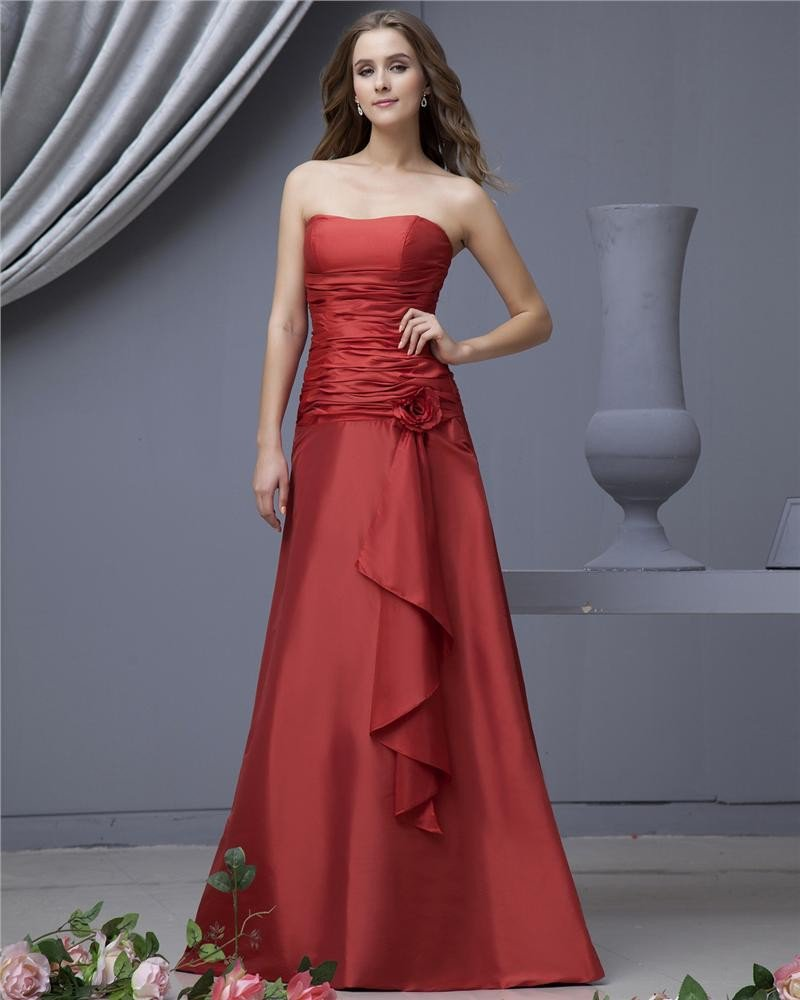 Taffeta Flower Sash Strapless Floor Length Bridesmaid Dresses