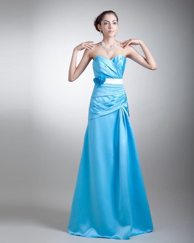 Satin Ruffle Flower Sweetheart Floor Length Bridesmaid Dress