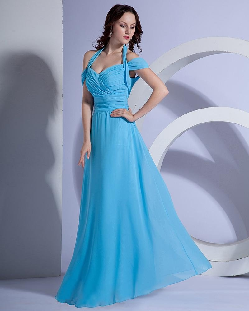 Satin Ruffle V Neck Halter Floor Length Bridesmaid Dress Gown