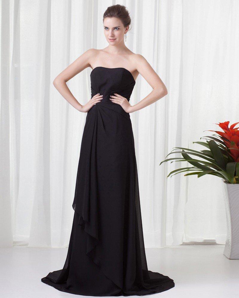 Super Charming Style Strapless Floor Length Pleated Beading Chiffon Bridesmaid Dress