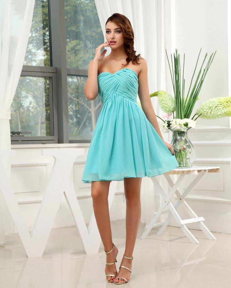Chiffon Silk Silk Like Satin Sweetheart Ruffle Sleeveless Backless Zipper Short Pleated Bridesmaid D