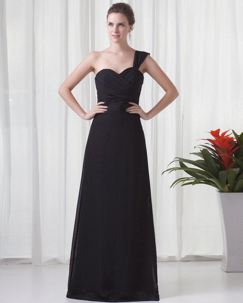 Fascinating One Shoulder Floor Length Pleated Chiffon Bridesmaid Dress