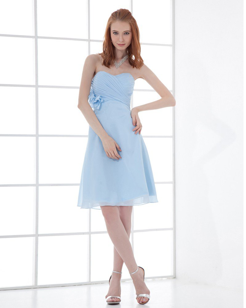 Fashion Chiffon Pleated Flower Sweetheart Knee Length Bridesmaid Dress