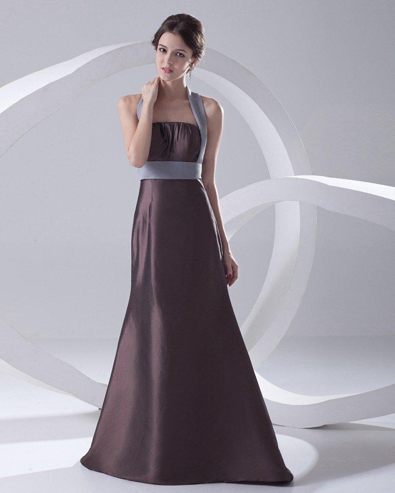 Fashion Satin Pleated Halter Sleeveless Floor Length Bridesmaid Dress
