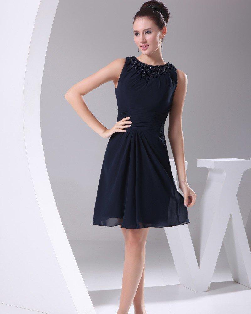 Chiffon Imitated Silk Fabric Neckline Seam Bead Knee Length Bridesmaid Dresses
