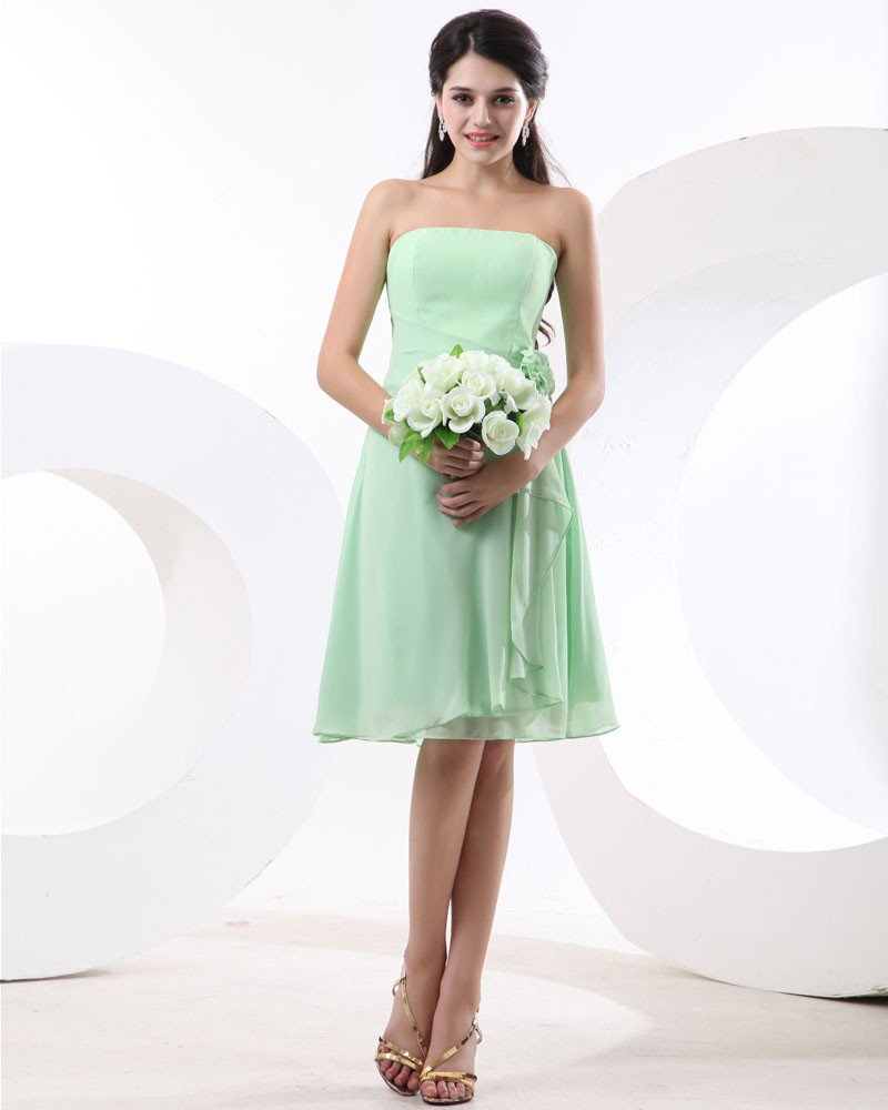 Flowers Chiffon Strapless Knee Length Bridesmaid Dresses