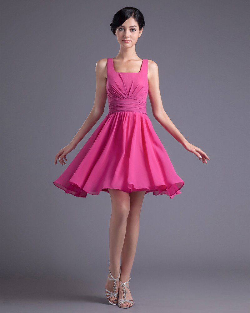 Fashion Chiffon Pleated Square Thigh Length Bridesmaid Dress