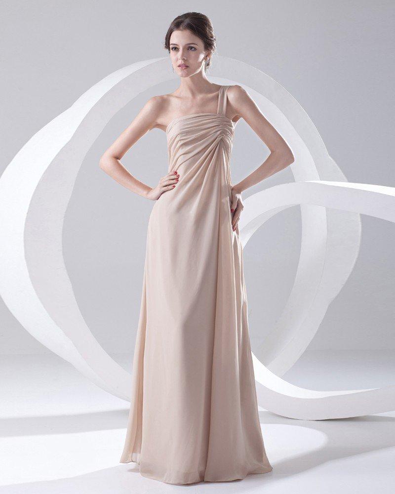 Fashion Chiffon One Shoulder Sleeveless Floor Length Pleated Bridesmaid Dress