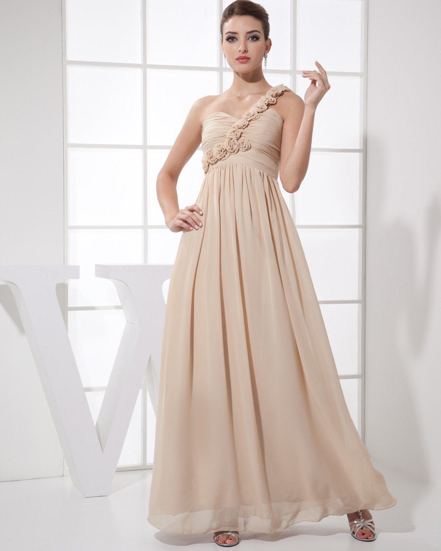 Sweetheart Flower Pleated Sleeveless Zipper Floor Length Chiffon Silk Woman Bridesmaid Dress