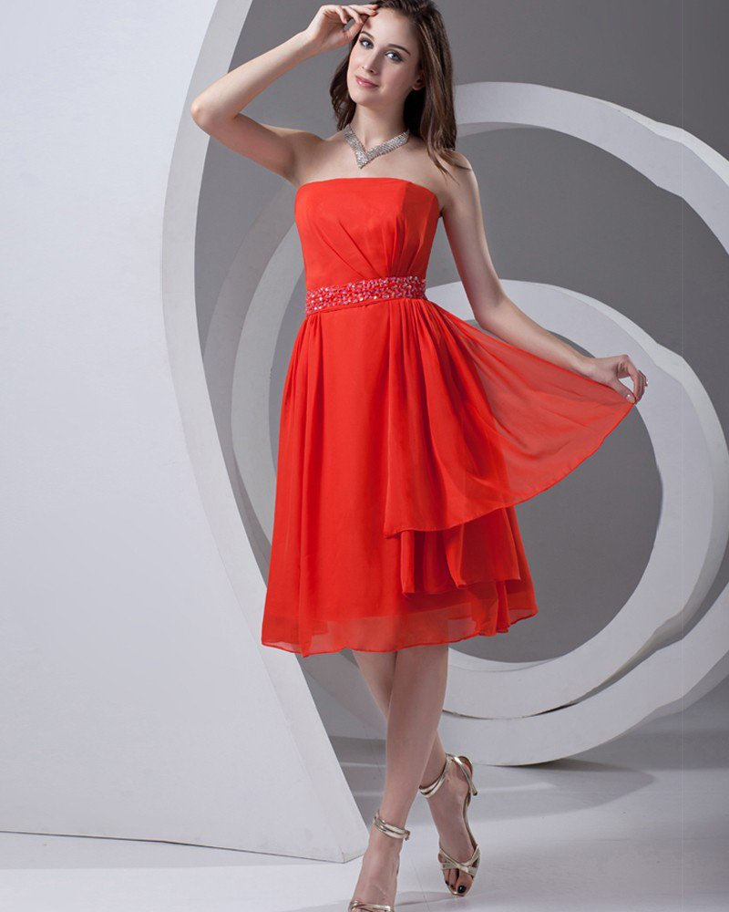 Strapless Beading Pleated Knee Length Chiffon Woman Bridesmaid Dress