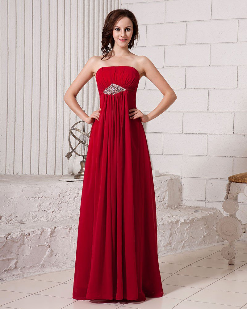 Stylish Ruffle Strapless Floor Length Beading Chiffon Bridesmaid Dress