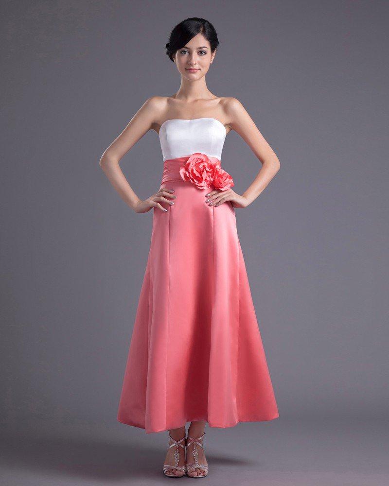 Fashion Satin Flower Strapless Ankle Length Bridesmaid Dress