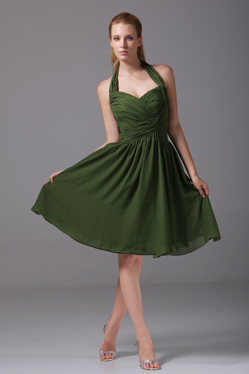 Chiffon Imitation Silk Ruffle Halter Knee Length Bridesmaid Dresses