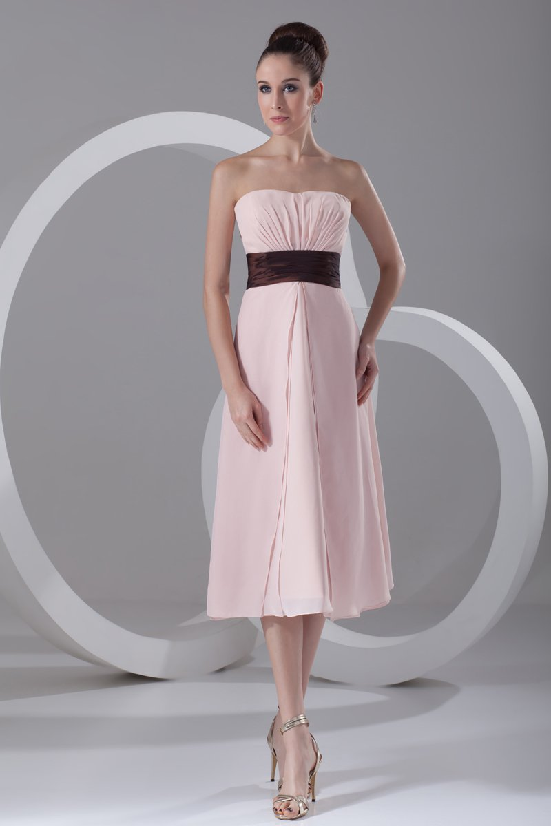 Chiffon Ruffle Strapless Tea Length Bridesmaid Dress