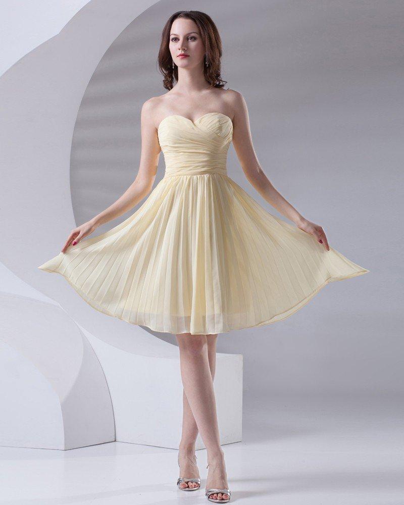 Fashion Sweetheart Knee Length Ruffle Chiffon Bridesmaid Dress