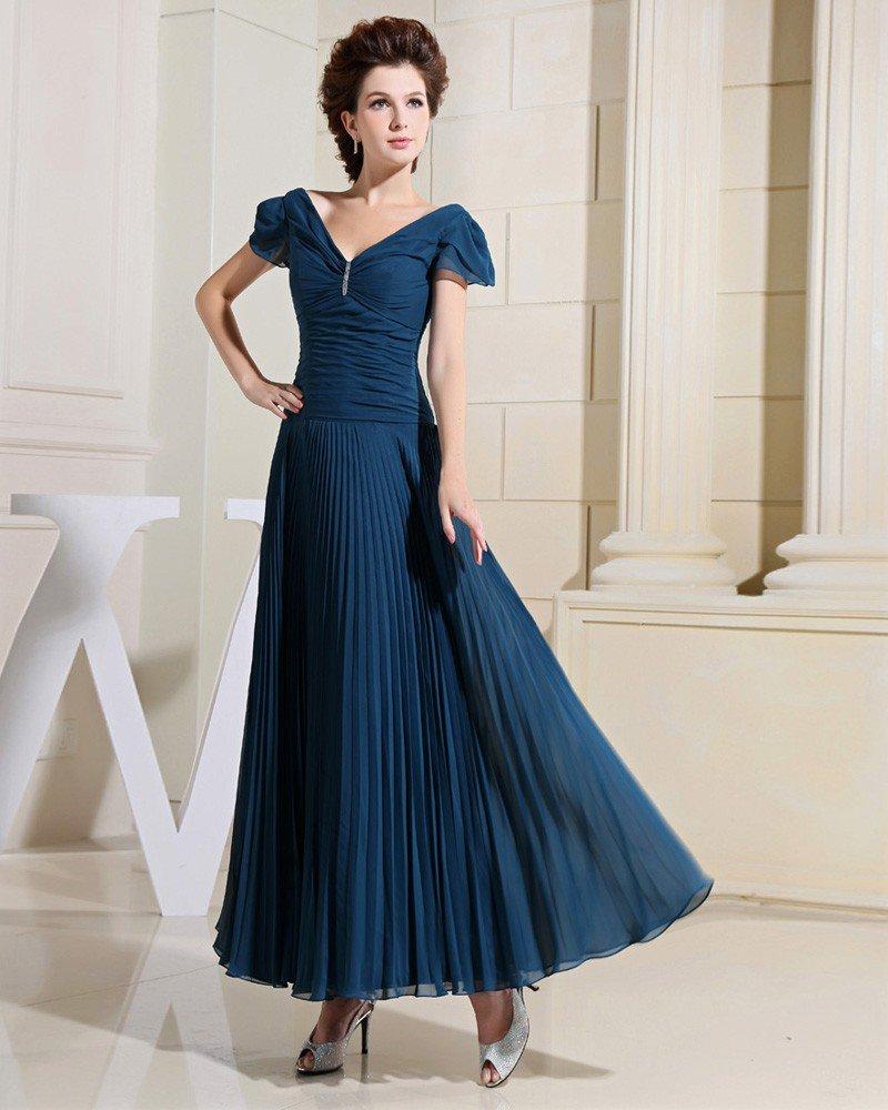 V Neck Petal Sleeve Floor Length Pleated Chiffon Empire Mother Of The Bride Dress