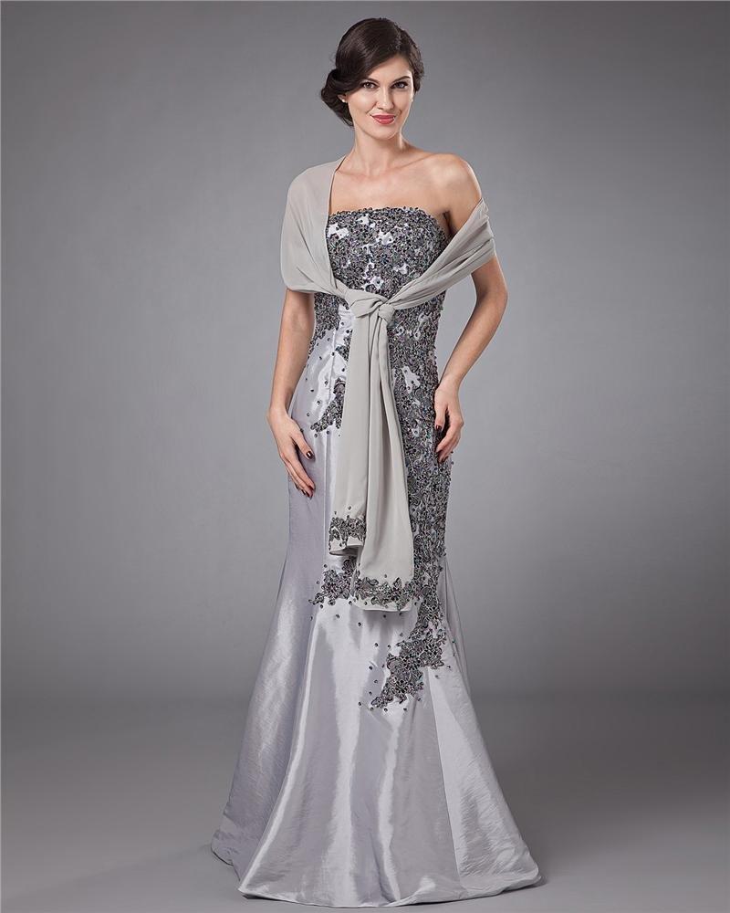 Satin Strapless Applique Trumpet Floor Length Mothers of Bride Guests Dresses