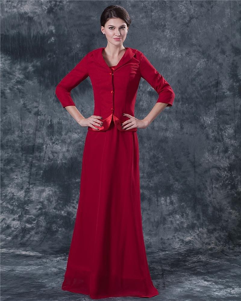 Jewel Floor Length Satin Mothers of Bride Special Guests Dress