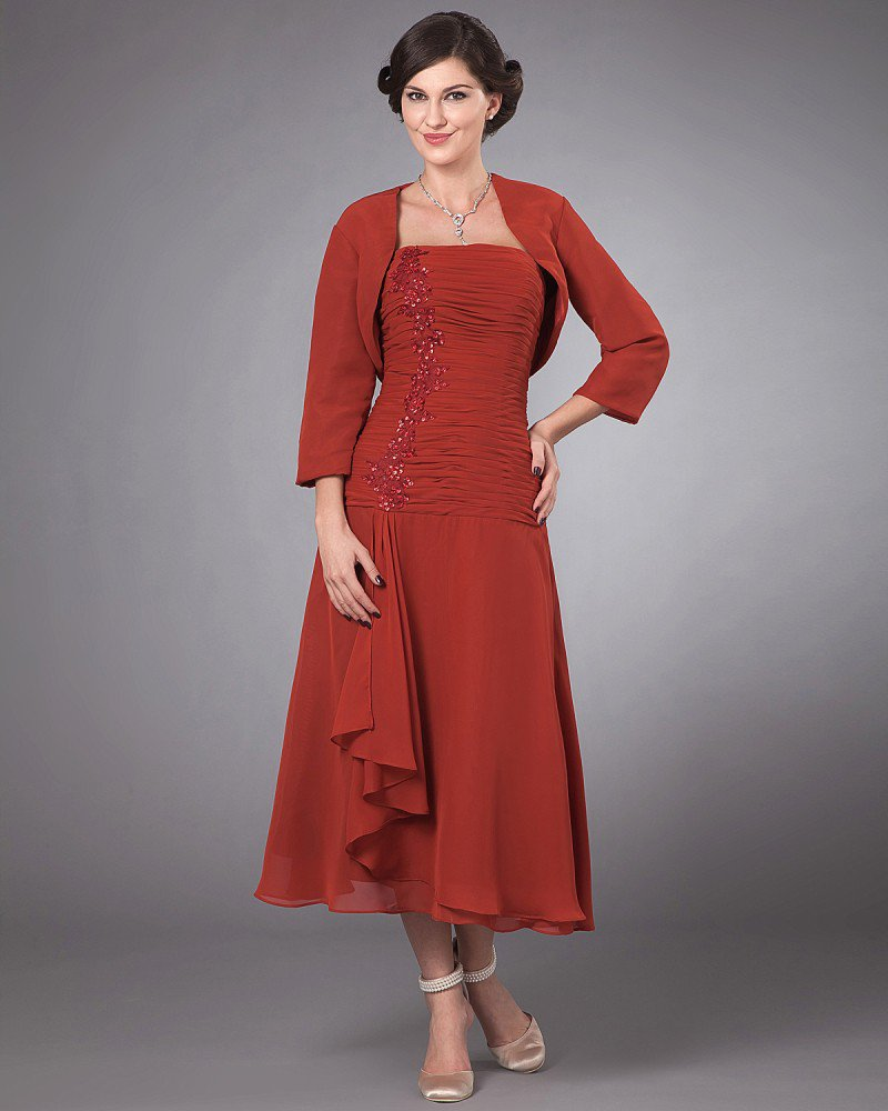 Elegant Chiffon Ruffles Beads Square Neck Tea Length Mothers of Bride Guests Dress