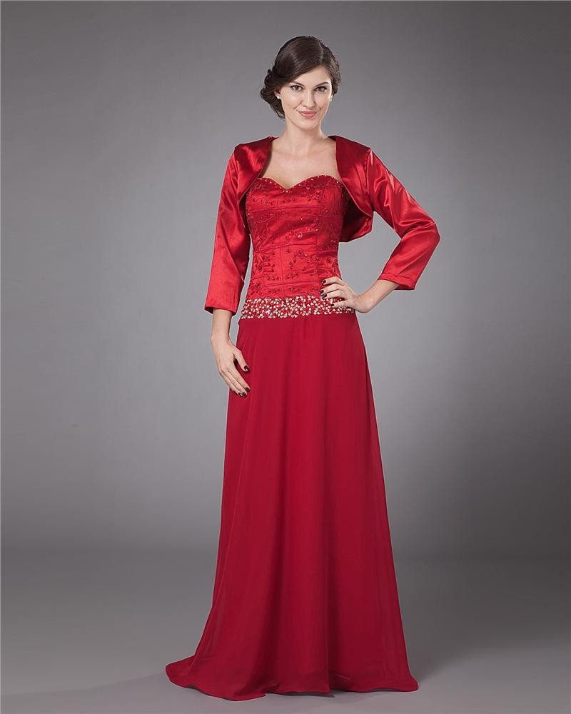 Gorgeous V-Neck Floor Length Charmeuse Lace Mother of the Bride Dress