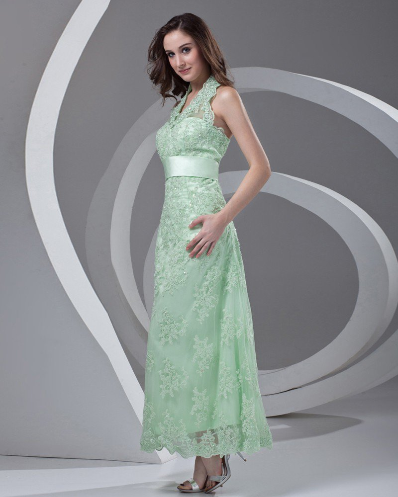 Halter Beading Ankle Length Lace Mother of the Bride Dress