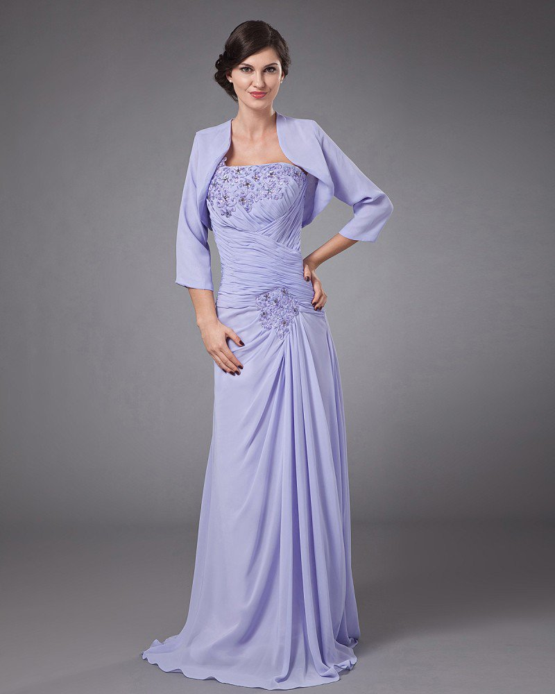 Chiffon Row Flower Beading One Shoulder Floor Length Mothers of Bride Guests Dresses