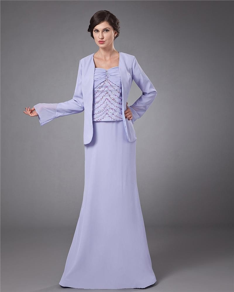Chiffon Ruffle Coat Floor Length Mothers of Bride Guests Dresses