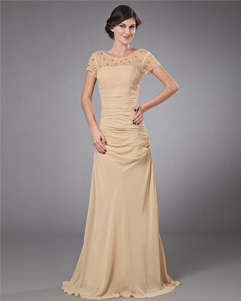 Chiffon Beading Floor Length Mothers of Bride Guests Dresses