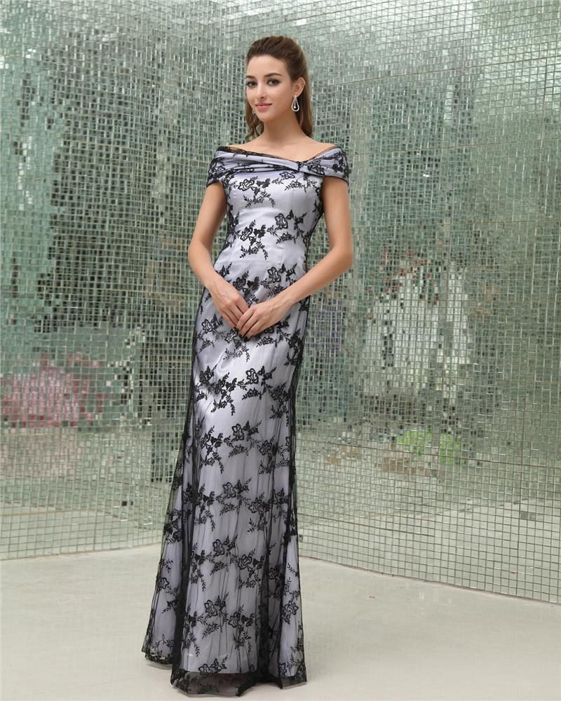 Off Shoulder Sleeveless Zipper Floor Length Beading Ruffle Lace Satin Tulle Mother of the Bride Dres