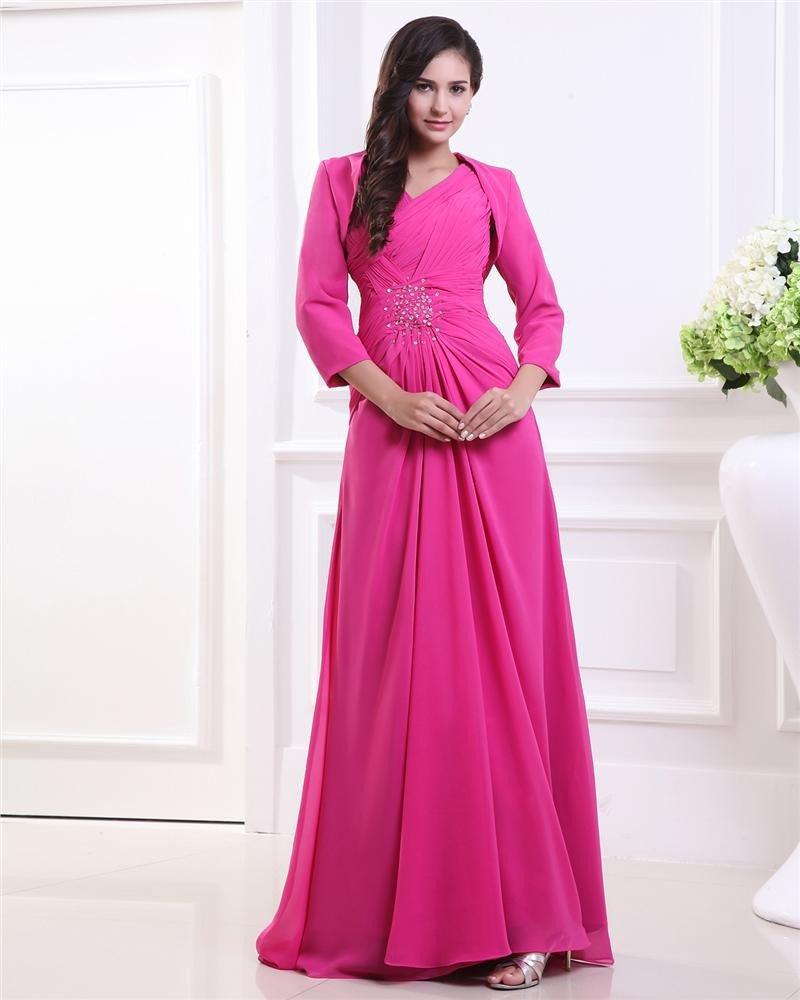 Chiffon V Neck Pleated Beading Long Sleeve Floor Length Mother of the Bride Dress