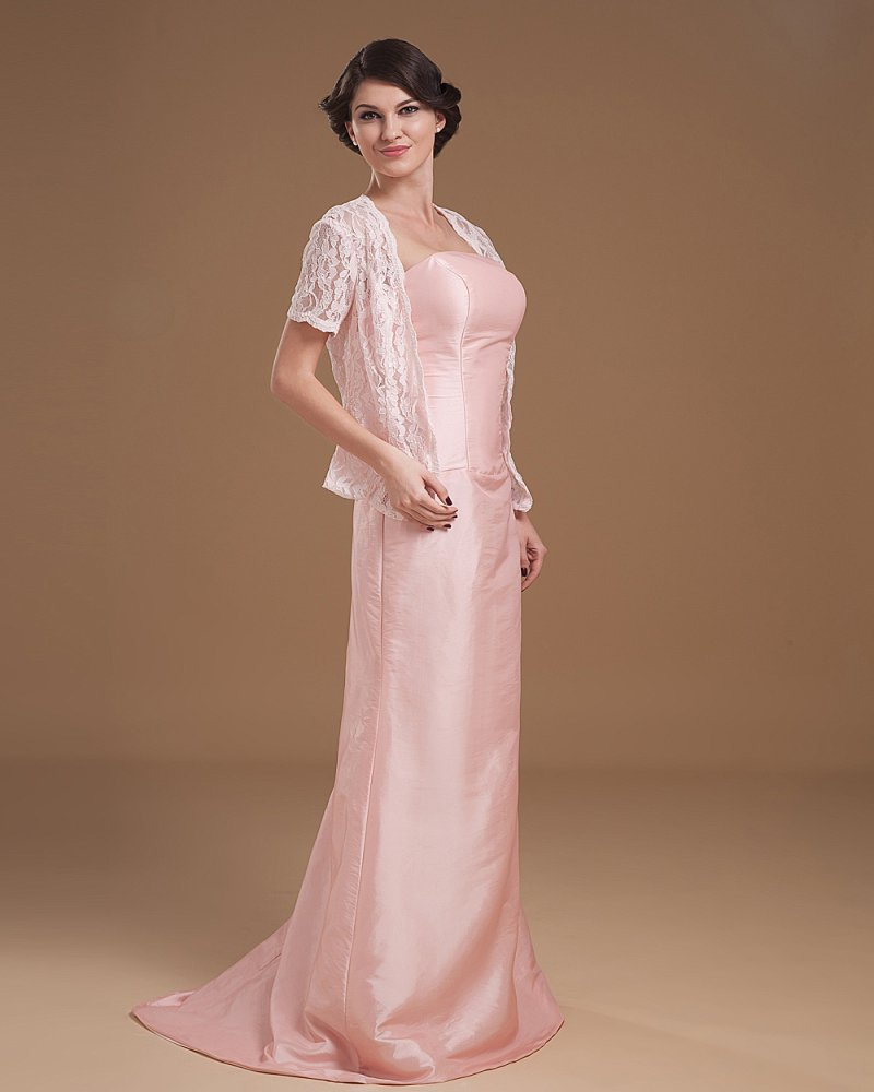 Chiffon Lace Ruffle V-neck Ankle Length Mothers of Bride Guests Dress