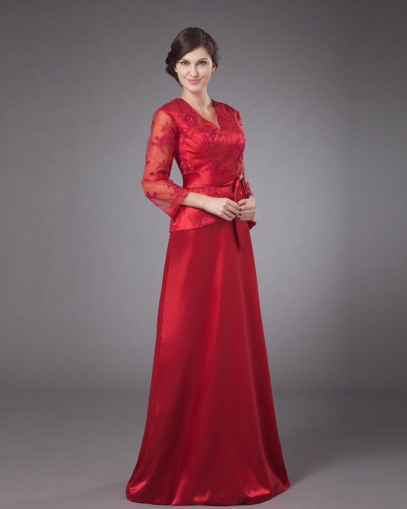 Satin Lace Bowtie V-Neck Mothers of Bride Guests Dresses