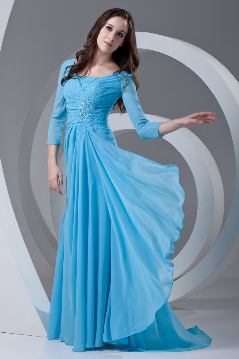 Square Beading Pleated Floor Length Chiffon Mother of the Bride Dress