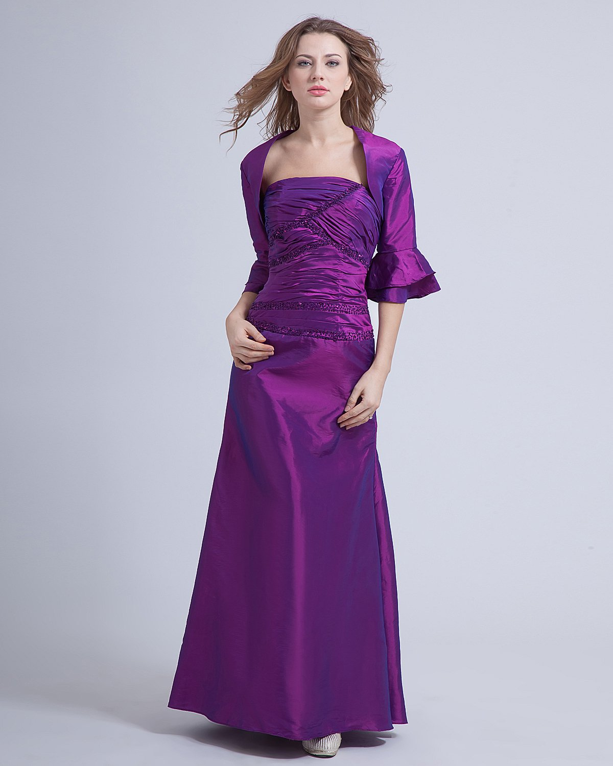 Taffeta Beading Floor Length Mothers of Bride Guests Dress