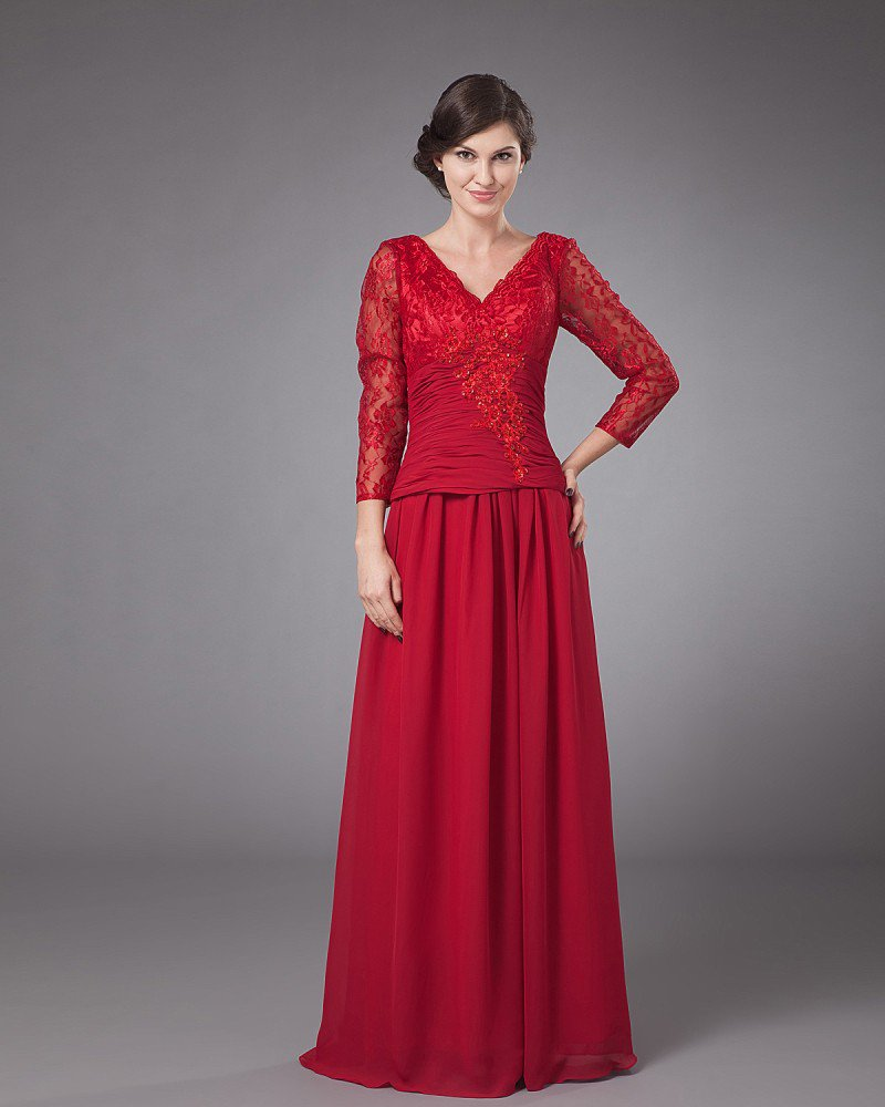 Durable V-Neck Floor Length Chiffon Mothers of Bride Special Guests Dress