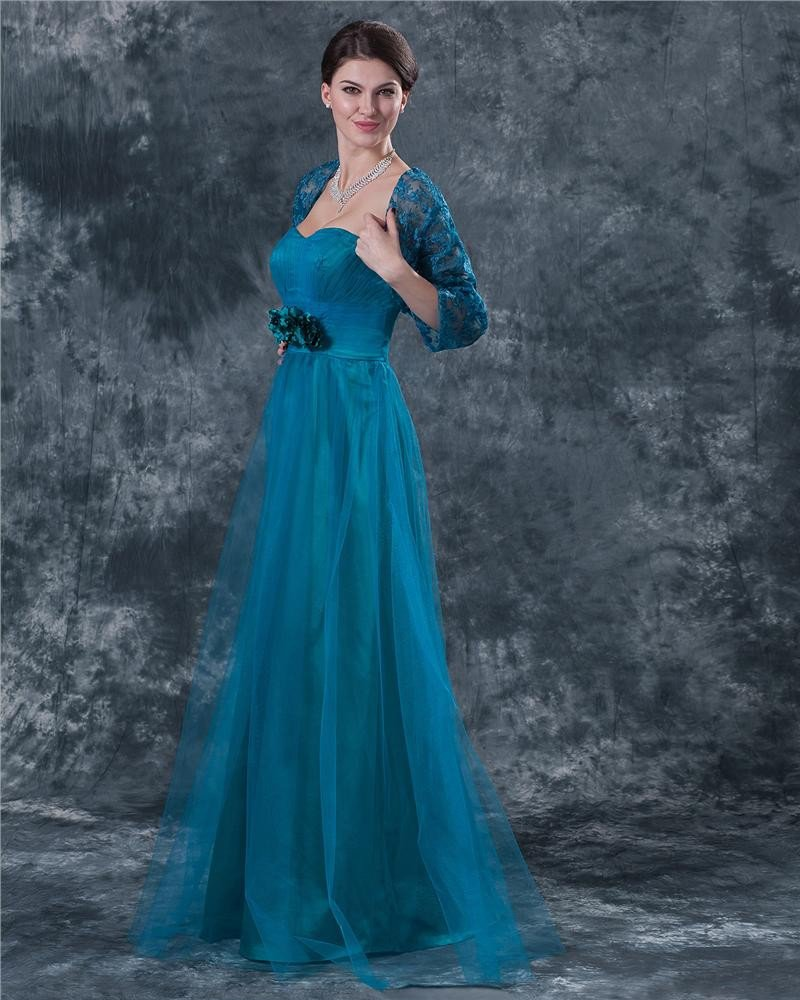 Yarn Sweetheart Sash Bowknot Floor Length Mothers of Bride Guests Dresses