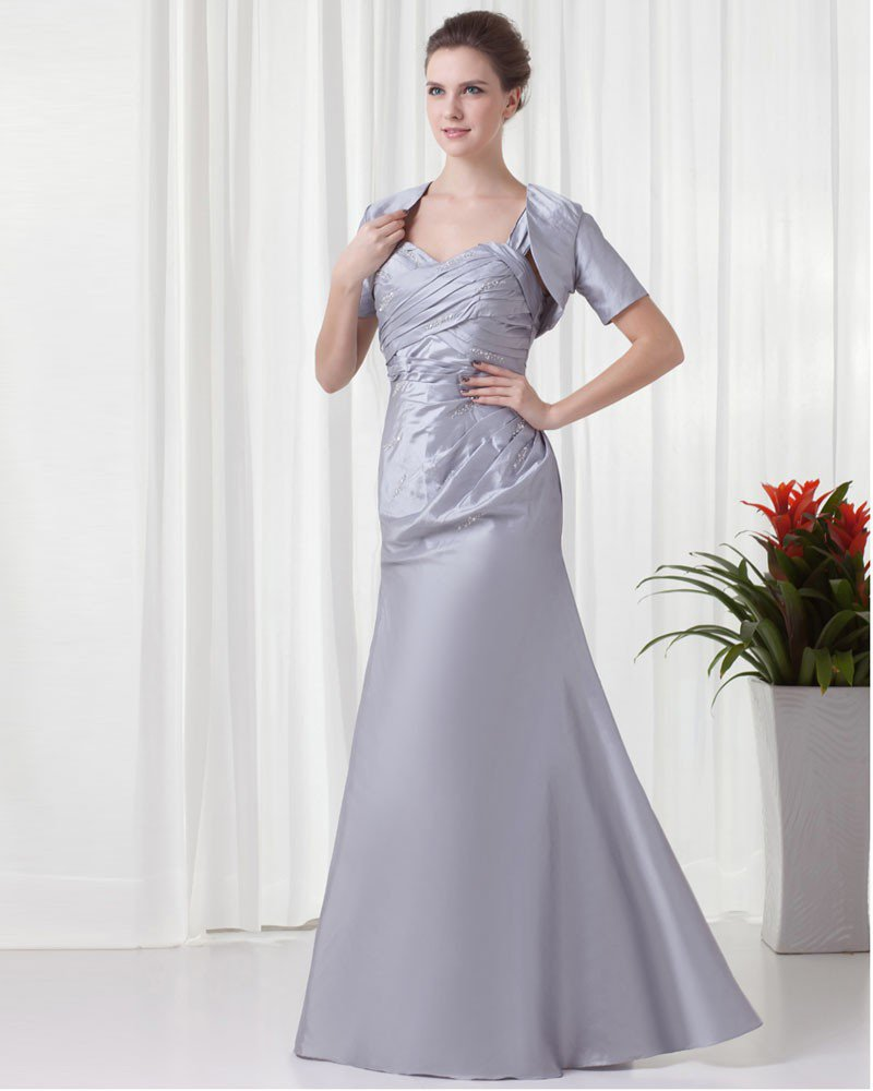 Shoulder Straps Pleated Wrap Floor Length Taffeta Mother of the Bride Dress