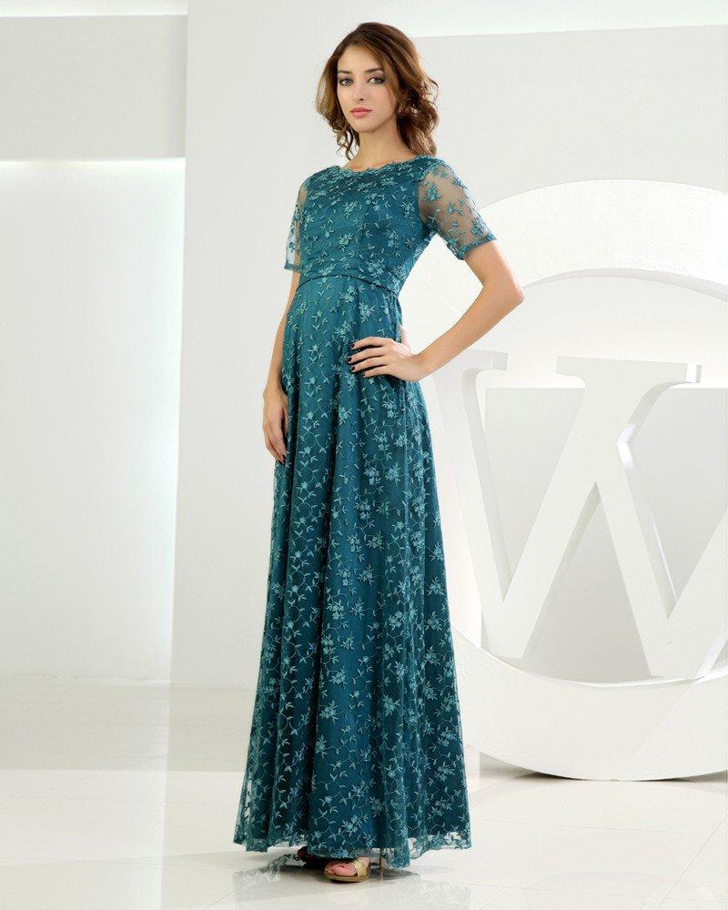 Jewel Short Sleeve Zipper Applique Ankle Length Lace Elastic Silk Like Satin Silk Mother of the Brid