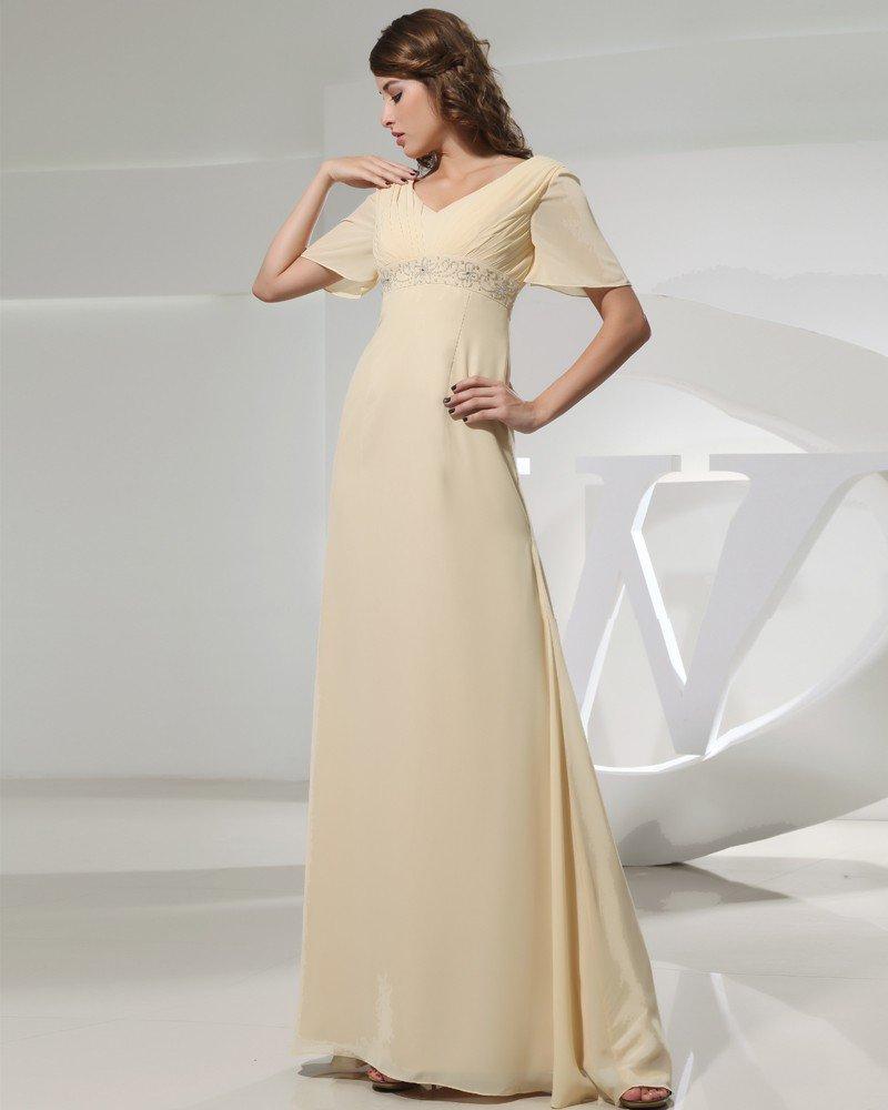 Petal Sleeve Floor Length V Neck Beading Pleat Chiffon Empire Mother Of The Bride Dress