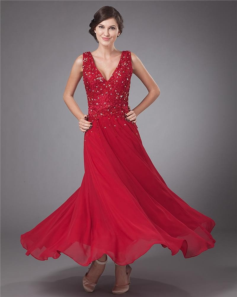 Chiffon Applique Embroidery V-Neck Ankle Length Mothers of Bride Guests Dresses